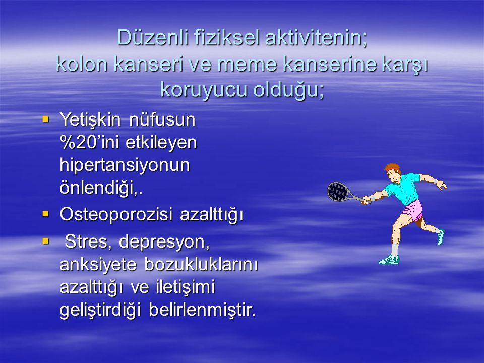 Düzenli fiziksel aktivitenin; kolon kanseri ve meme kanserine karşı koruyucu olduğu;  Yetişkin nüfusun %20'ini etkileyen hipertansiyonun önlendiği,.
