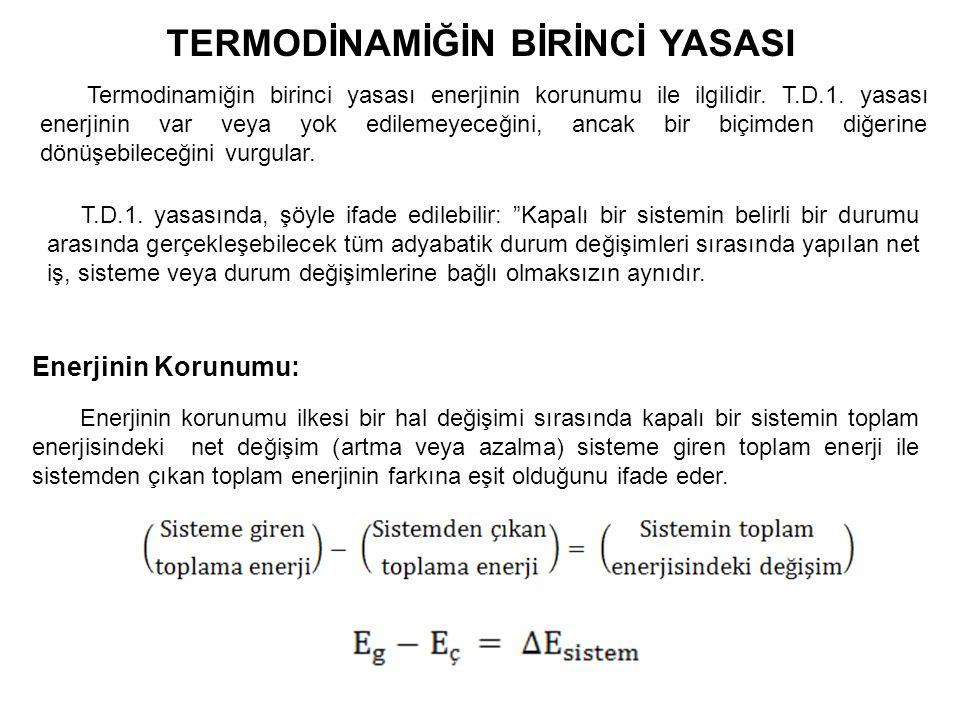 TERMODİNAMİĞİN BİRİNCİ YASASI Termodinamiğin birinci yasası enerjinin korunumu ile ilgilidir.