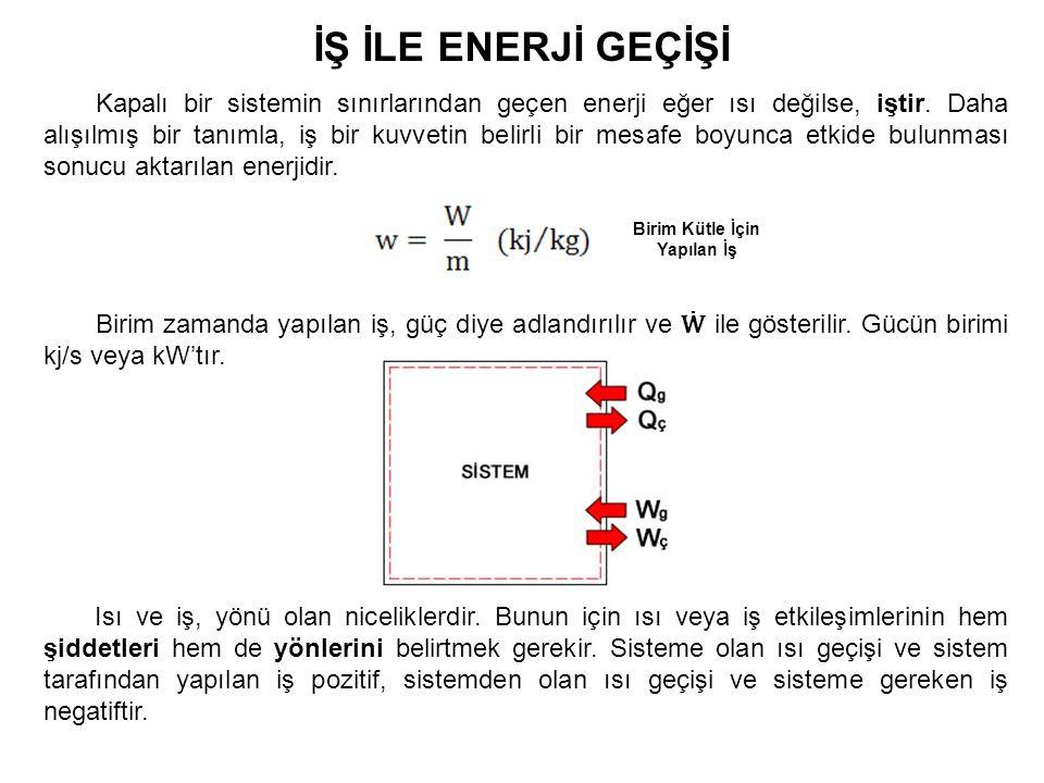 İŞ İLE ENERJİ GEÇİŞİ Kapalı bir sistemin sınırlarından geçen enerji eğer ısı değilse, iştir.