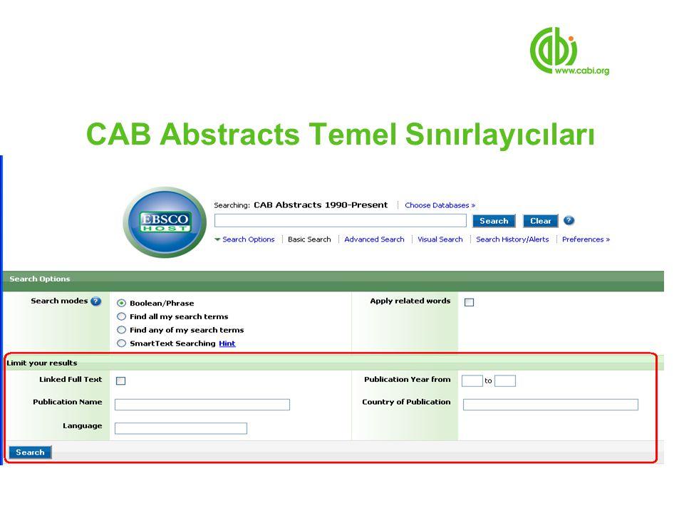 CAB Abstracts Temel Sınırlayıcıları