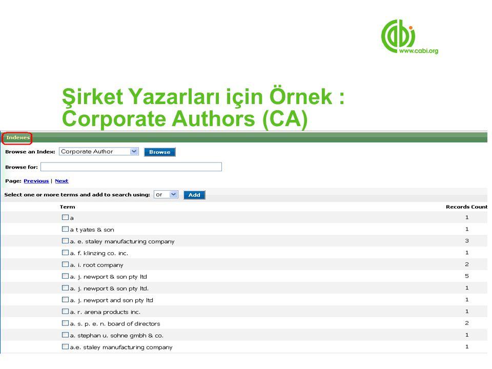 Şirket Yazarları için Örnek : Corporate Authors (CA)