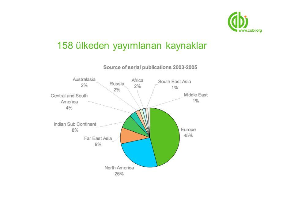 158 ülkeden yayımlanan kaynaklar
