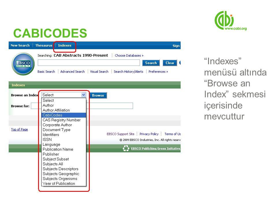 CABICODES Indexes menüsü altında Browse an Index sekmesi içerisinde mevcuttur