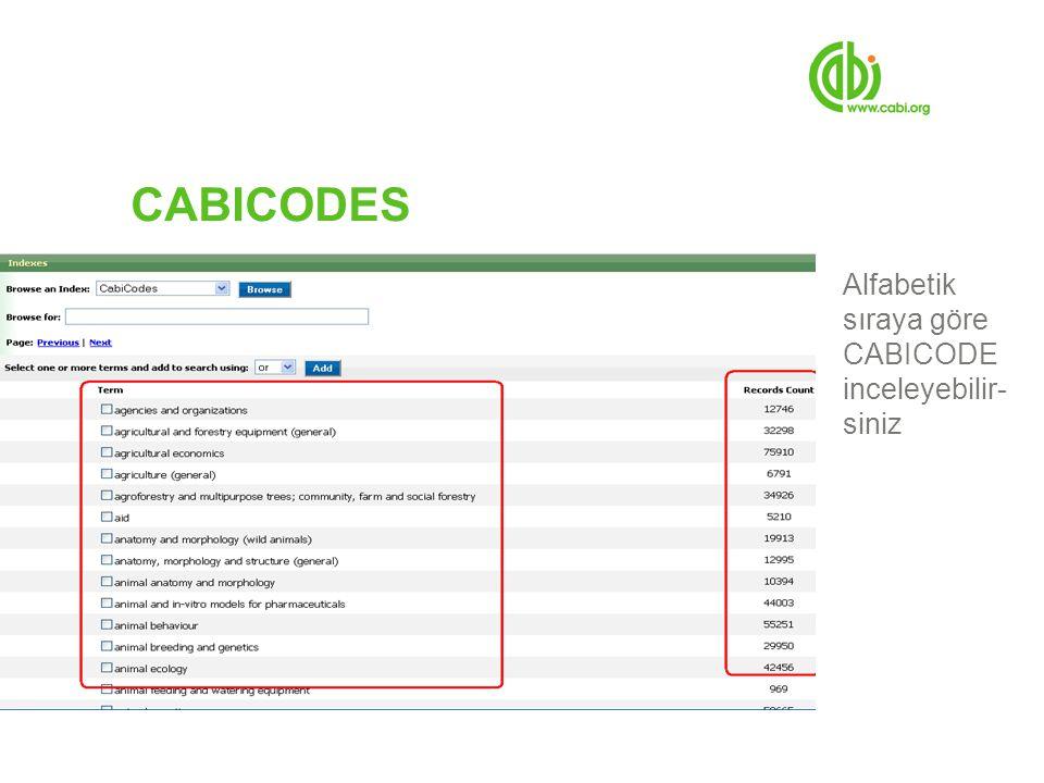 CABICODES Alfabetik sıraya göre CABICODE inceleyebilir- siniz