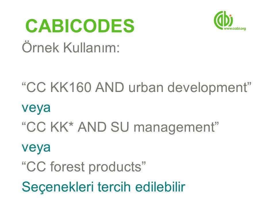 CABICODES Örnek Kullanım: CC KK160 AND urban development veya CC KK* AND SU management veya CC forest products Seçenekleri tercih edilebilir