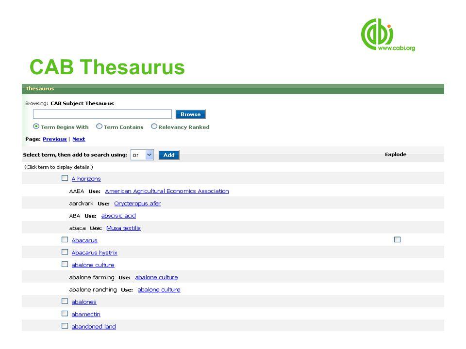 CAB Thesaurus