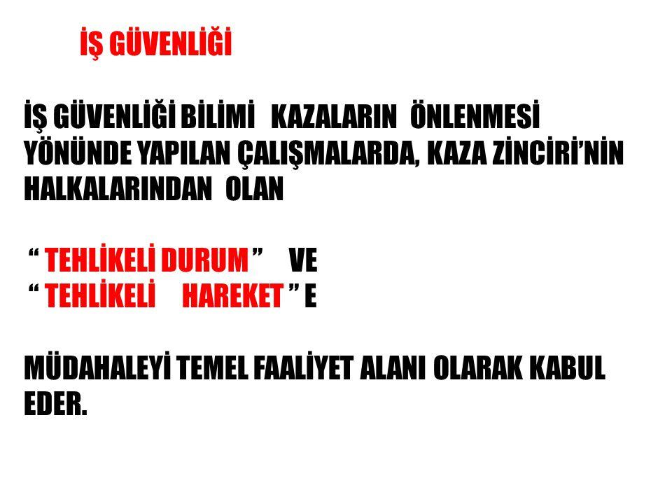 """İŞ GÜVENLİĞİ BİLİMİ KAZALARIN ÖNLENMESİ YÖNÜNDE YAPILAN ÇALIŞMALARDA, KAZA ZİNCİRİ'NİN HALKALARINDAN OLAN """" TEHLİKELİ DURUM """" VE """" TEHLİKELİ HAREKET """""""