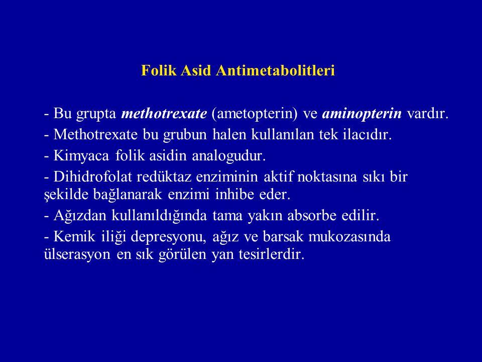 Folik Asid Antimetabolitleri - Bu grupta methotrexate (ametopterin) ve aminopterin vardır. - Methotrexate bu grubun halen kullanılan tek ilacıdır. - K