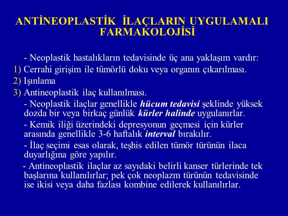 ANTİNEOPLASTİK İLAÇLARIN UYGULAMALI FARMAKOLOJİSİ - Neoplastik hastalıkların tedavisinde üç ana yaklaşım vardır: 1) Cerrahi girişim ile tümörlü doku v