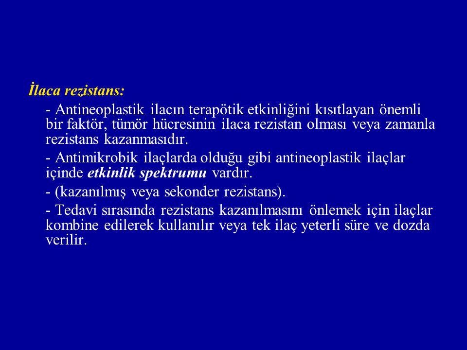 İlaca rezistans: - Antineoplastik ilacın terapötik etkinliğini kısıtlayan önemli bir faktör, tümör hücresinin ilaca rezistan olması veya zamanla rezis