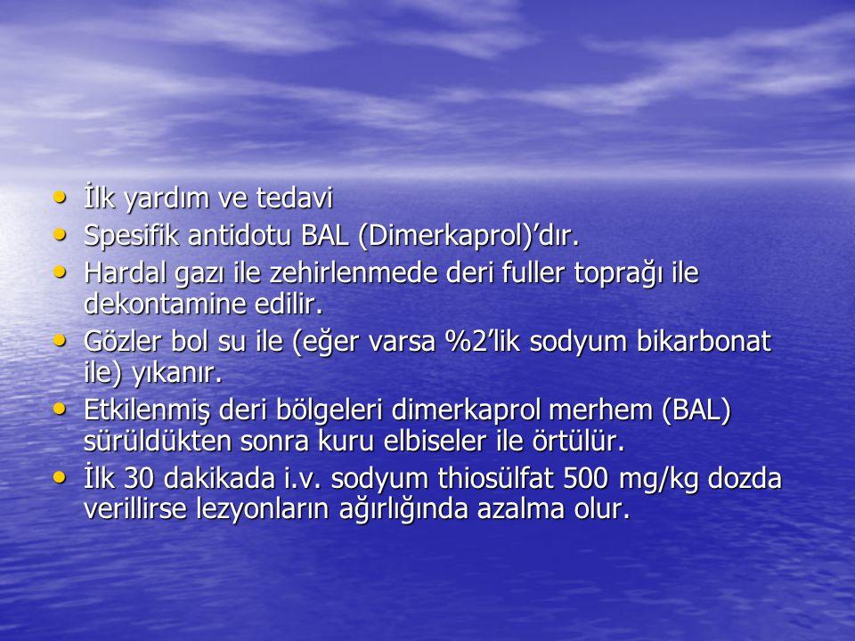 İlk yardım ve tedavi İlk yardım ve tedavi Spesifik antidotu BAL (Dimerkaprol)'dır. Spesifik antidotu BAL (Dimerkaprol)'dır. Hardal gazı ile zehirlenme