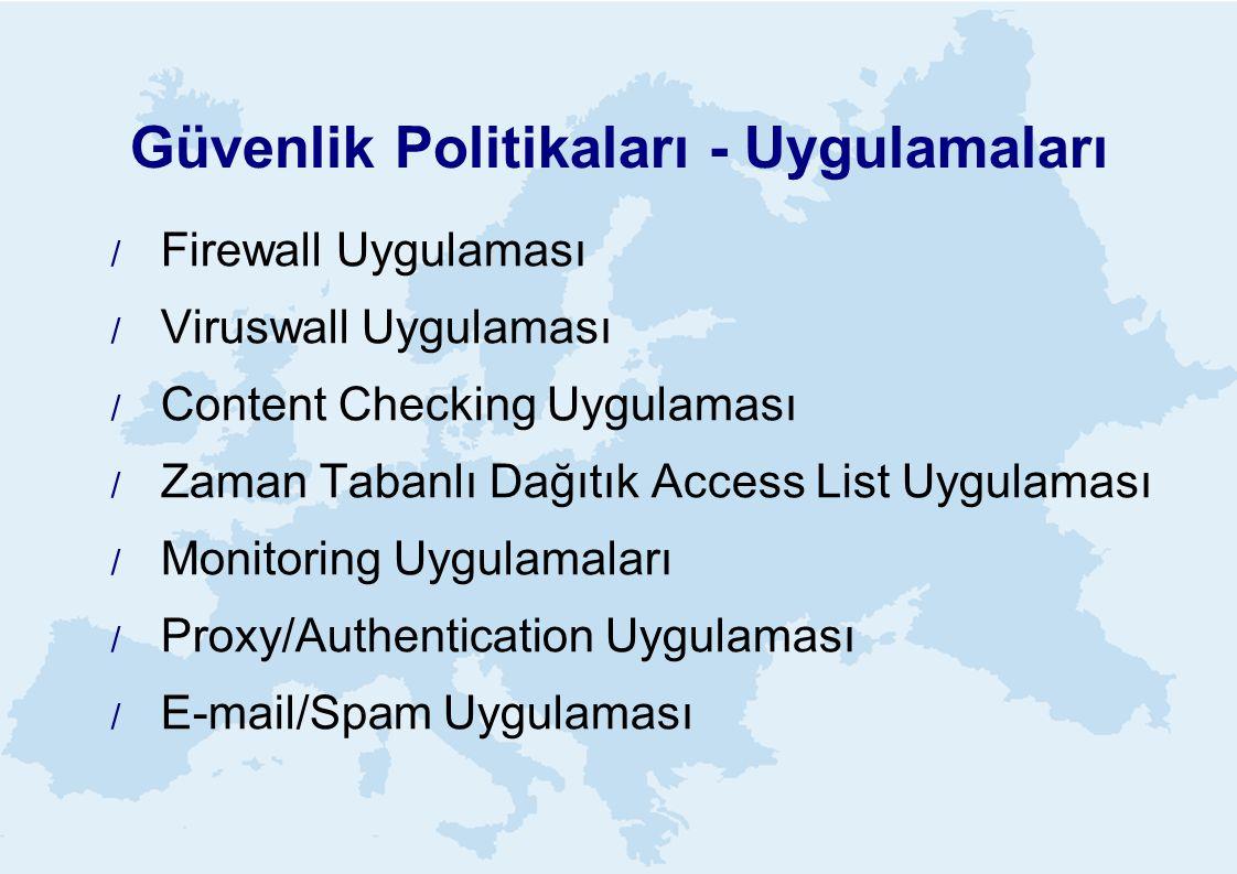 Güvenlik Politikaları - Uygulamaları  Firewall Uygulaması  Viruswall Uygulaması  Content Checking Uygulaması  Zaman Tabanlı Dağıtık Access List Uygulaması  Monitoring Uygulamaları  Proxy/Authentication Uygulaması  E-mail/Spam Uygulaması