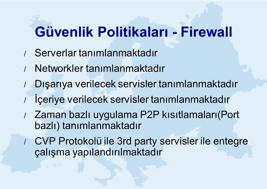 Güvenlik Politikaları - Firewall  Serverlar tanımlanmaktadır  Networkler tanımlanmaktadır  Dışarıya verilecek servisler tanımlanmaktadır  İçeriye verilecek servisler tanımlanmaktadır  Zaman bazlı uygulama P2P kısıtlamaları(Port bazlı) tanımlanmaktadır  CVP Protokolü ile 3rd party servisler ile entegre çalışma yapılandırılmaktadır