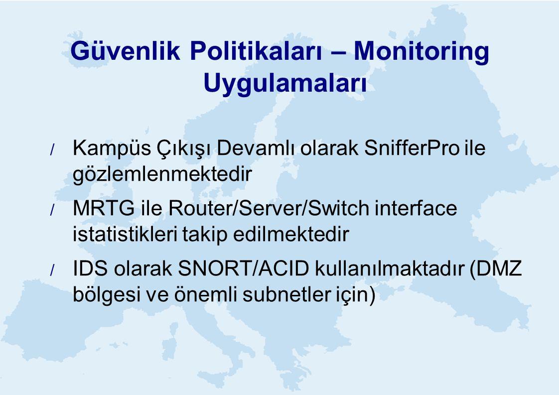 Güvenlik Politikaları – Monitoring Uygulamaları  Kampüs Çıkışı Devamlı olarak SnifferPro ile gözlemlenmektedir  MRTG ile Router/Server/Switch interface istatistikleri takip edilmektedir  IDS olarak SNORT/ACID kullanılmaktadır (DMZ bölgesi ve önemli subnetler için)