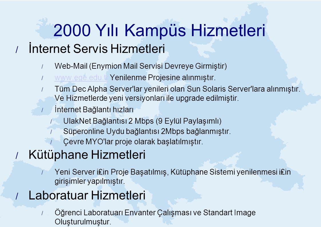 2000 Yılı Kampüs Hizmetleri / İnternet Servis Hizmetleri / Web-Mail (Enymion Mail Servisi Devreye Girmiştir) / www.ege.edu.tr Yenilenme Projesine alınmıştır.