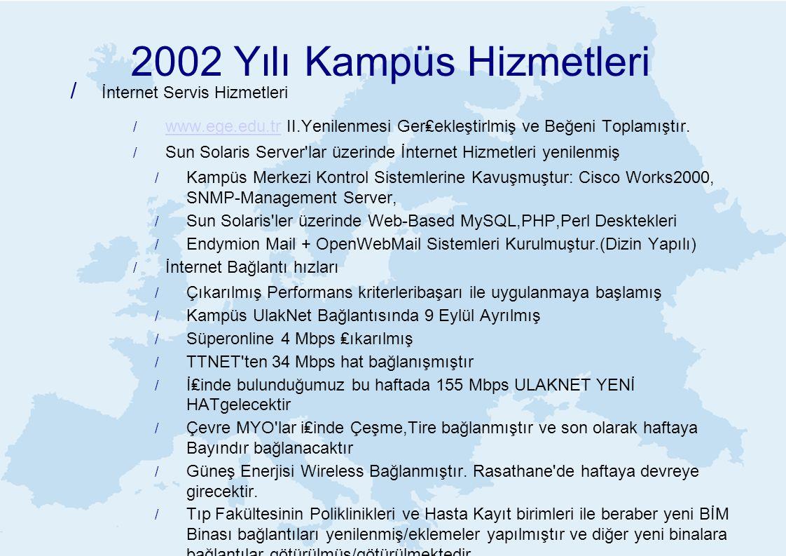 2002 Yılı Kampüs Hizmetleri / İnternet Servis Hizmetleri / www.ege.edu.tr II.Yenilenmesi Ger₤ekleştirlmiş ve Beğeni Toplamıştır. www.ege.edu.tr / Sun