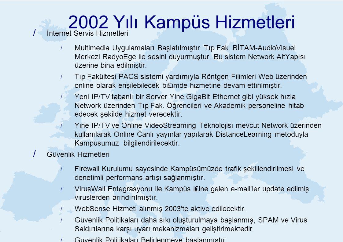2002 Yılı Kampüs Hizmetleri / İnternet Servis Hizmetleri / Multimedia Uygulamaları Başlatılmıştır. Tıp Fak. BİTAM-AudioVisuel Merkezi RadyoEge ile ses