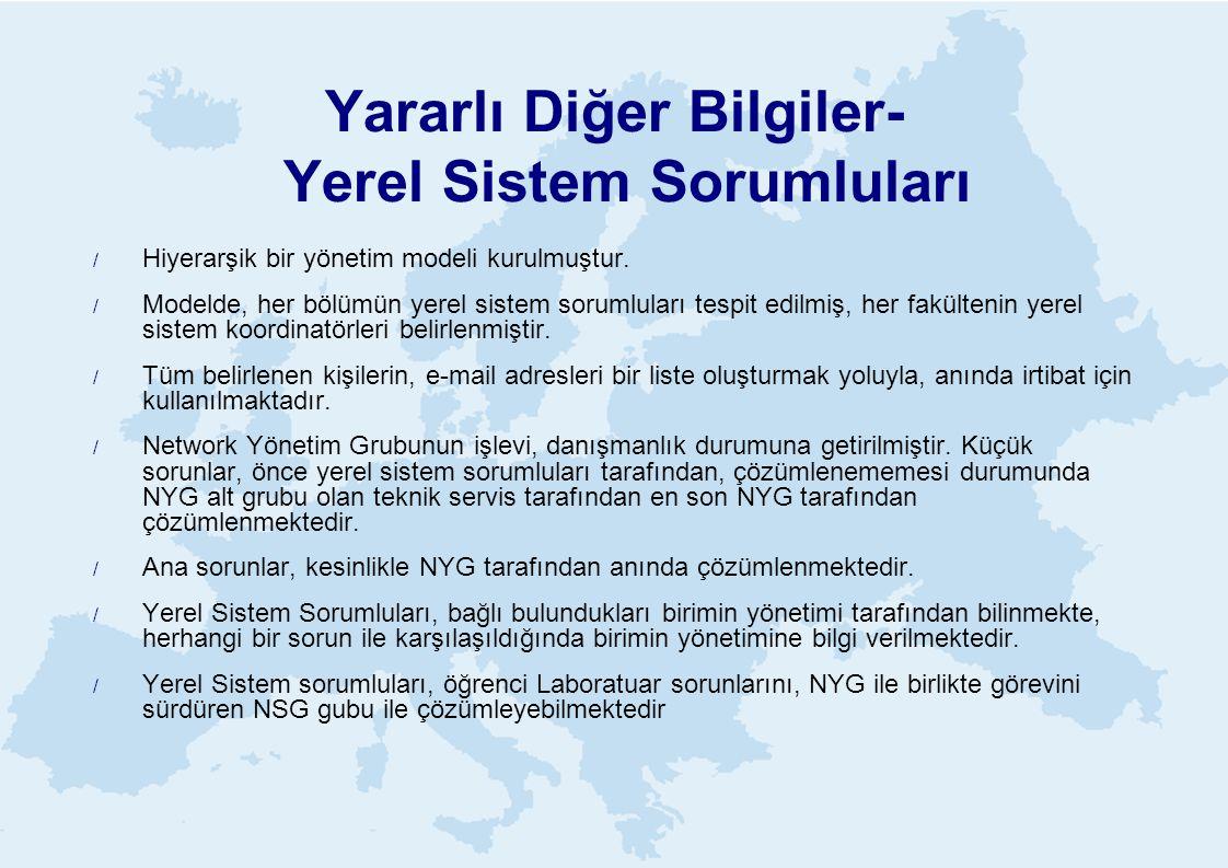 Yararlı Diğer Bilgiler- Yerel Sistem Sorumluları  Hiyerarşik bir yönetim modeli kurulmuştur.  Modelde, her bölümün yerel sistem sorumluları tespit e