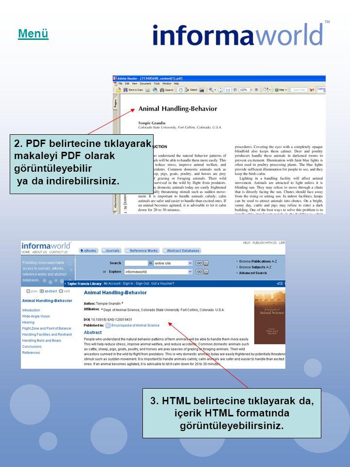 2. PDF belirtecine tıklayarak, makaleyi PDF olarak görüntüleyebilir ya da indirebilirsiniz. Menü 3. HTML belirtecine tıklayarak da, içerik HTML format