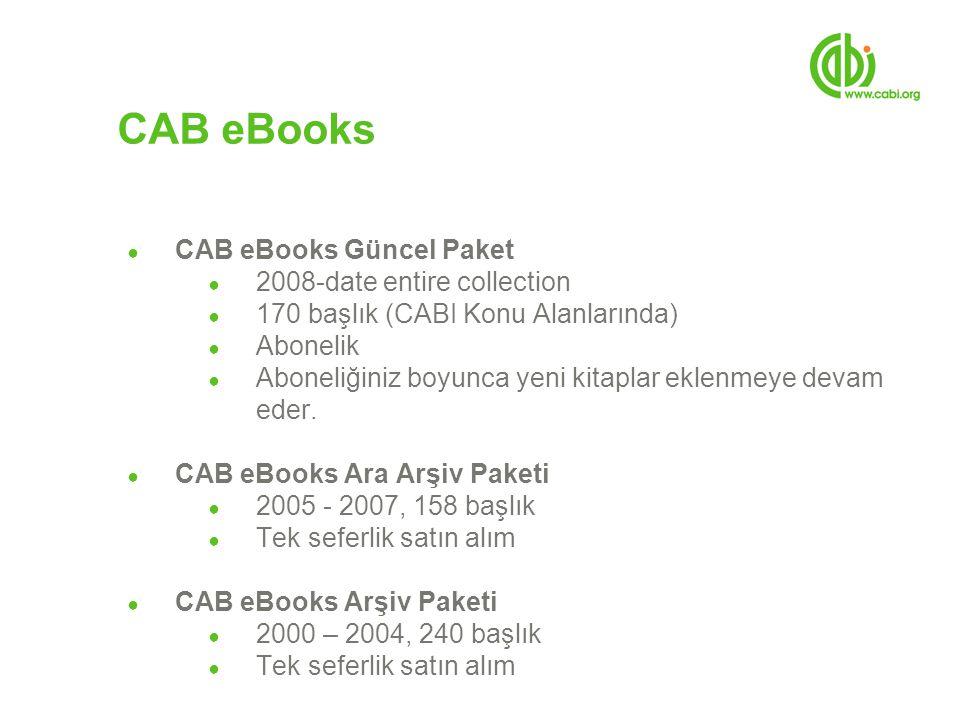 ● CAB eBooks Güncel Paket ● 2008-date entire collection ● 170 başlık (CABI Konu Alanlarında) ● Abonelik ● Aboneliğiniz boyunca yeni kitaplar eklenmeye