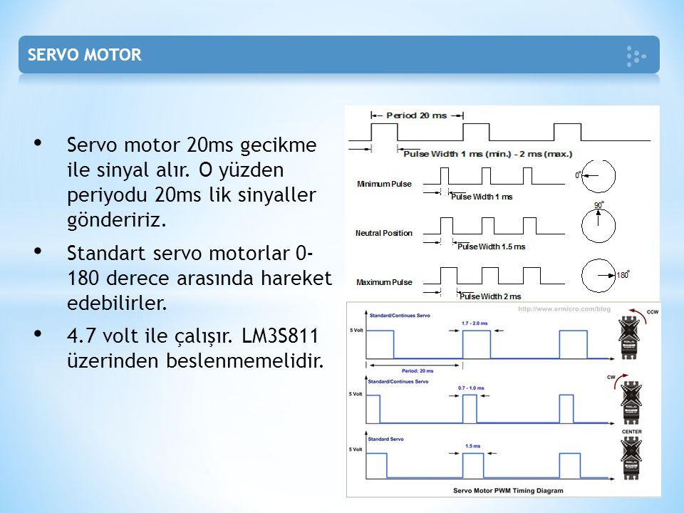 Servo motor 20ms gecikme ile sinyal alır. O yüzden periyodu 20ms lik sinyaller göndeririz. Standart servo motorlar 0- 180 derece arasında hareket edeb