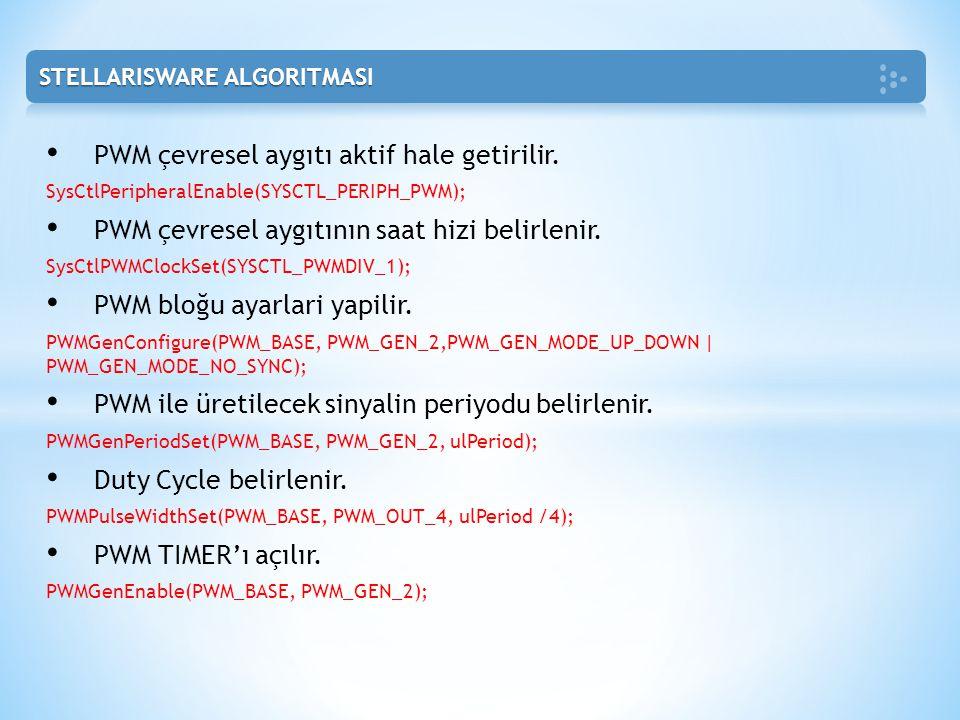 PWM çevresel aygıtı aktif hale getirilir. SysCtlPeripheralEnable(SYSCTL_PERIPH_PWM); PWM çevresel aygıtının saat hizi belirlenir. SysCtlPWMClockSet(SY