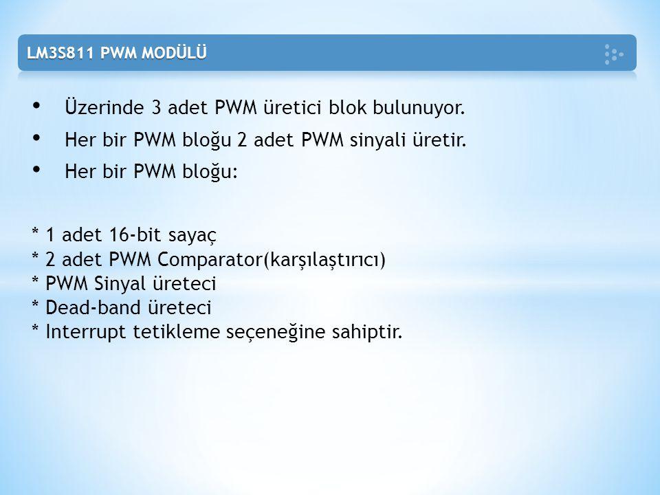 Üzerinde 3 adet PWM üretici blok bulunuyor. Her bir PWM bloğu 2 adet PWM sinyali üretir. Her bir PWM bloğu: * 1 adet 16-bit sayaç * 2 adet PWM Compara
