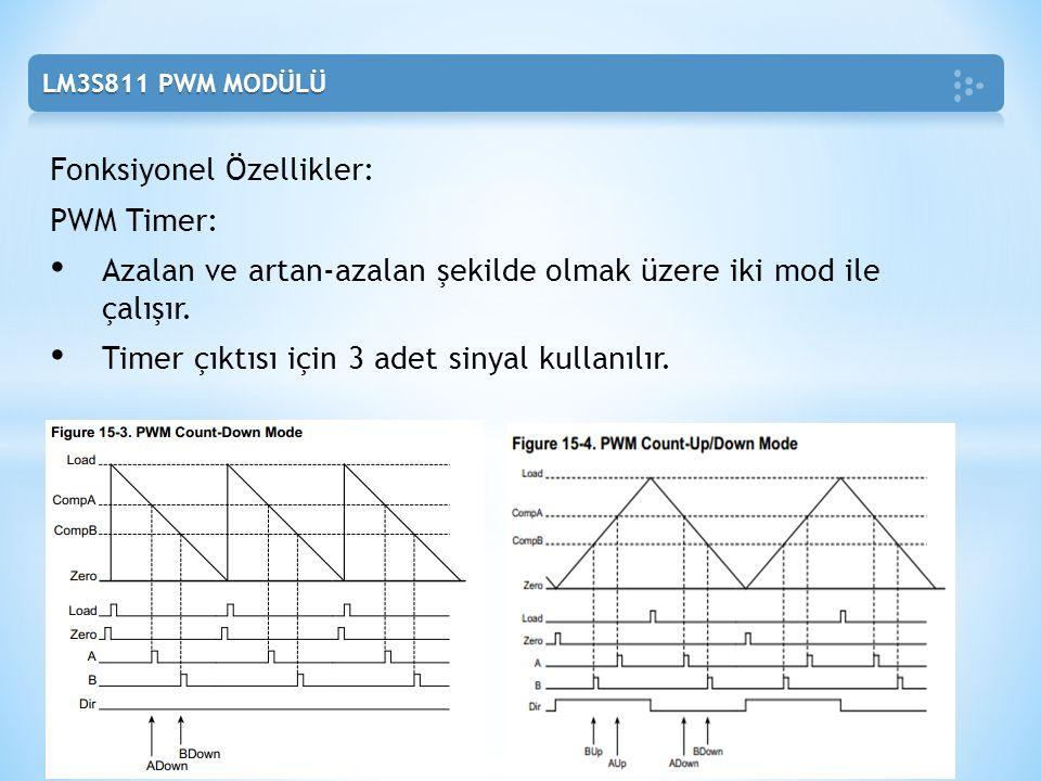 Fonksiyonel Özellikler: PWM Timer: Azalan ve artan-azalan şekilde olmak üzere iki mod ile çalışır. Timer çıktısı için 3 adet sinyal kullanılır.