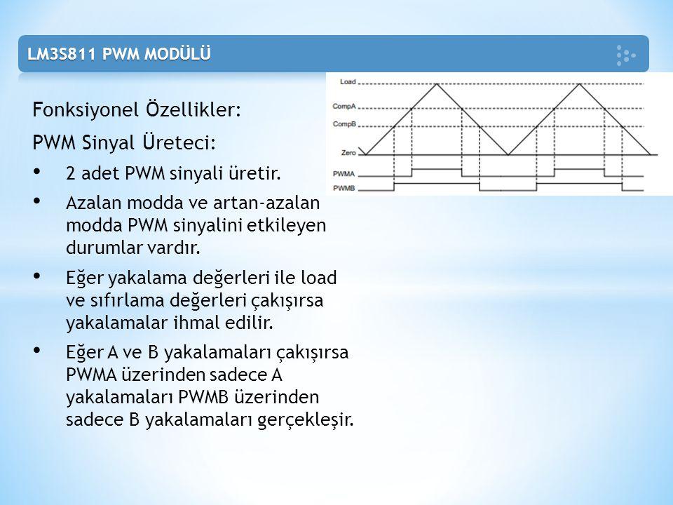 Fonksiyonel Özellikler: PWM Sinyal Üreteci: 2 adet PWM sinyali üretir. Azalan modda ve artan-azalan modda PWM sinyalini etkileyen durumlar vardır. Eğe