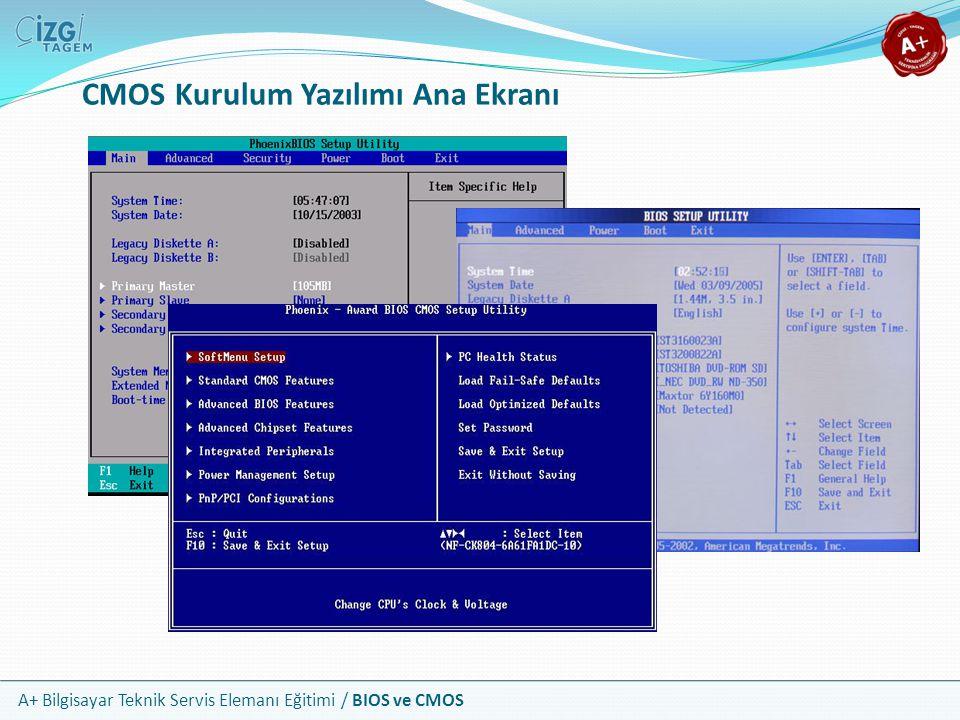 A+ Bilgisayar Teknik Servis Elemanı Eğitimi / BIOS ve CMOS CMOS Kurulum Yazılımı Ana Ekranı