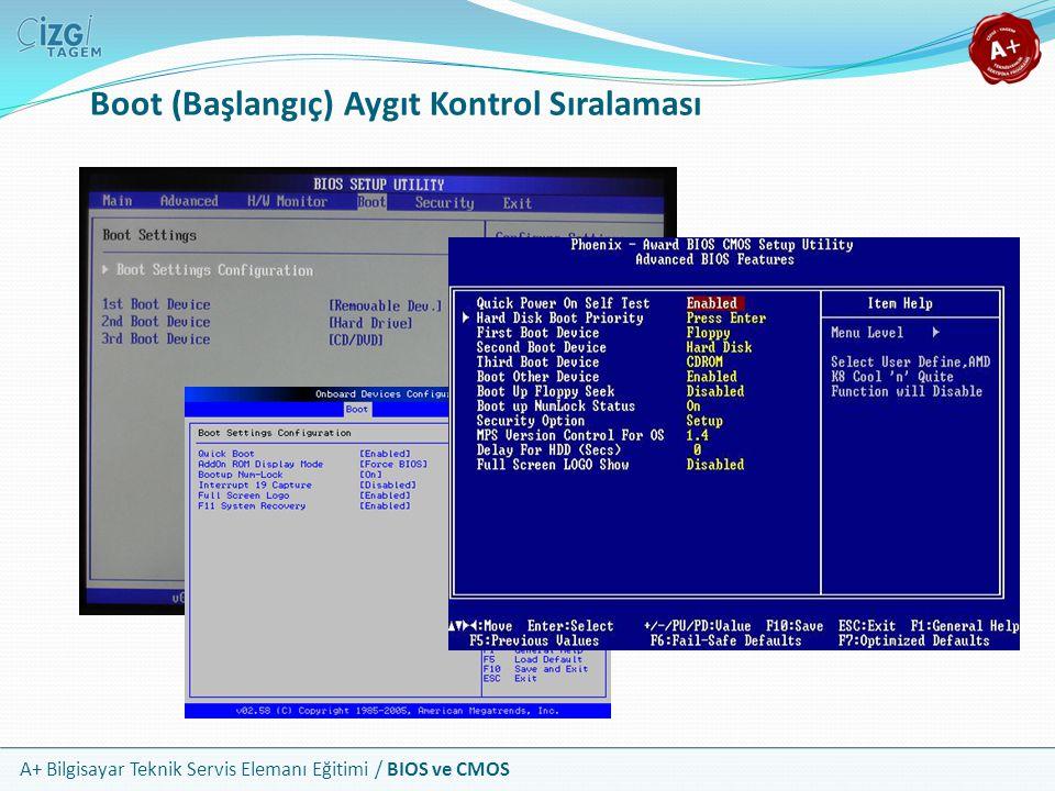 A+ Bilgisayar Teknik Servis Elemanı Eğitimi / BIOS ve CMOS Boot (Başlangıç) Aygıt Kontrol Sıralaması