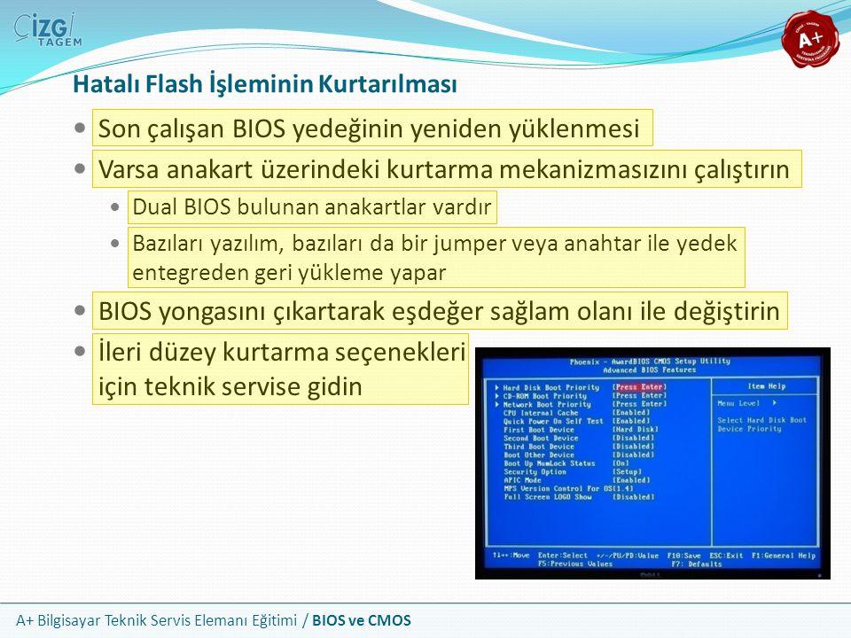 A+ Bilgisayar Teknik Servis Elemanı Eğitimi / BIOS ve CMOS Son çalışan BIOS yedeğinin yeniden yüklenmesi Varsa anakart üzerindeki kurtarma mekanizması
