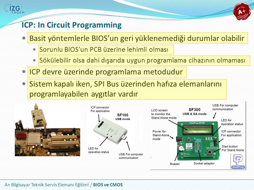 A+ Bilgisayar Teknik Servis Elemanı Eğitimi / BIOS ve CMOS ICP: In Circuit Programming Basit yöntemlerle BIOS'un geri yüklenemediği durumlar olabilir