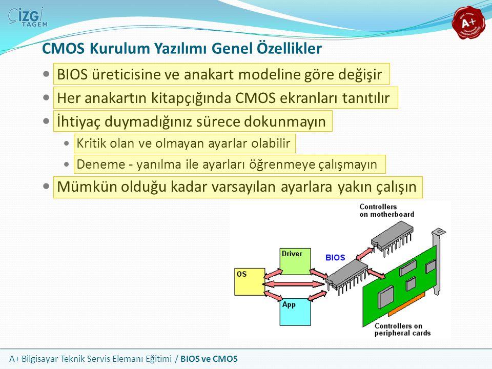 A+ Bilgisayar Teknik Servis Elemanı Eğitimi / BIOS ve CMOS CMOS Kurulum Yazılımı Genel Özellikler BIOS üreticisine ve anakart modeline göre değişir He