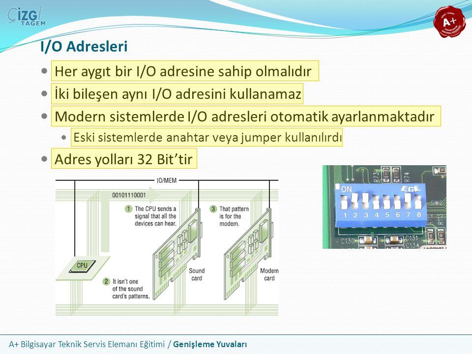 A+ Bilgisayar Teknik Servis Elemanı Eğitimi / Genişleme Yuvaları Her aygıt bir I/O adresine sahip olmalıdır İki bileşen aynı I/O adresini kullanamaz Modern sistemlerde I/O adresleri otomatik ayarlanmaktadır Eski sistemlerde anahtar veya jumper kullanılırdı Adres yolları 32 Bit'tir I/O Adresleri