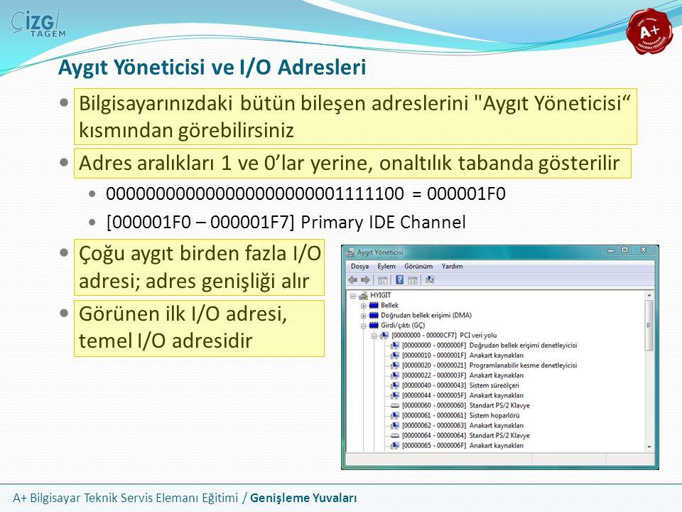 A+ Bilgisayar Teknik Servis Elemanı Eğitimi / Genişleme Yuvaları Aygıt Yöneticisi ve I/O Adresleri Bilgisayarınızdaki bütün bileşen adreslerini Aygıt Yöneticisi kısmından görebilirsiniz Adres aralıkları 1 ve 0'lar yerine, onaltılık tabanda gösterilir 000000000000000000000001111100 = 000001F0 [000001F0 – 000001F7] Primary IDE Channel Çoğu aygıt birden fazla I/O adresi; adres genişliği alır Görünen ilk I/O adresi, temel I/O adresidir
