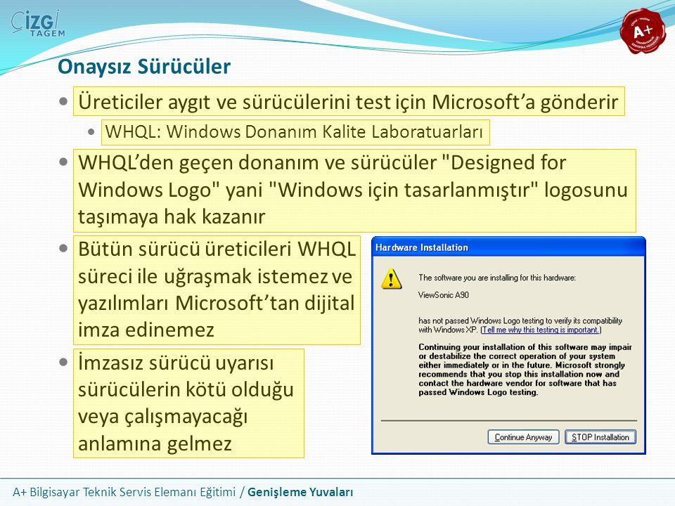 A+ Bilgisayar Teknik Servis Elemanı Eğitimi / Genişleme Yuvaları Onaysız Sürücüler Üreticiler aygıt ve sürücülerini test için Microsoft'a gönderir WHQL: Windows Donanım Kalite Laboratuarları WHQL'den geçen donanım ve sürücüler Designed for Windows Logo yani Windows için tasarlanmıştır logosunu taşımaya hak kazanır Bütün sürücü üreticileri WHQL süreci ile uğraşmak istemez ve yazılımları Microsoft'tan dijital imza edinemez İmzasız sürücü uyarısı sürücülerin kötü olduğu veya çalışmayacağı anlamına gelmez