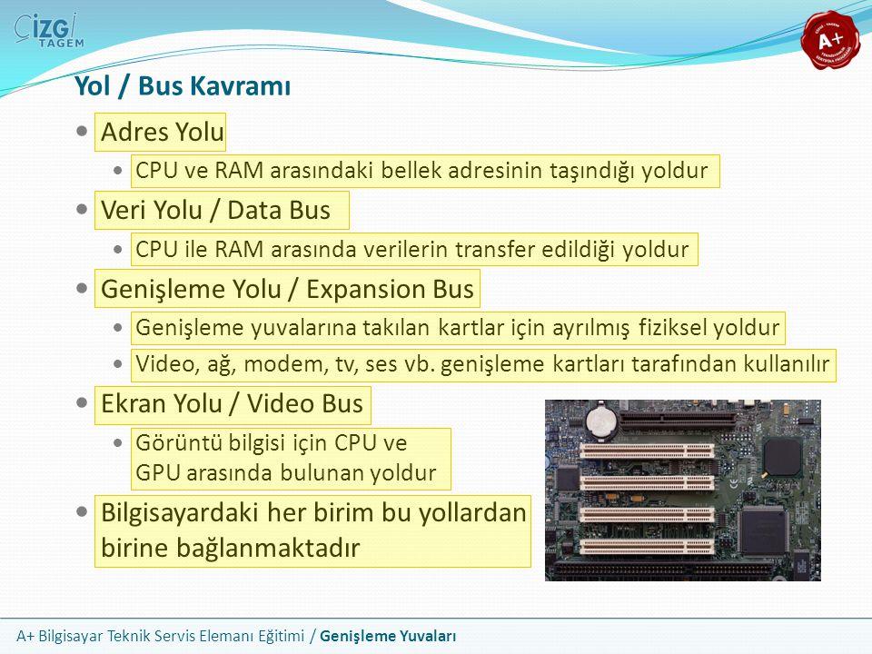 A+ Bilgisayar Teknik Servis Elemanı Eğitimi / Genişleme Yuvaları Adres Yolu CPU ve RAM arasındaki bellek adresinin taşındığı yoldur Veri Yolu / Data Bus CPU ile RAM arasında verilerin transfer edildiği yoldur Genişleme Yolu / Expansion Bus Genişleme yuvalarına takılan kartlar için ayrılmış fiziksel yoldur Video, ağ, modem, tv, ses vb.