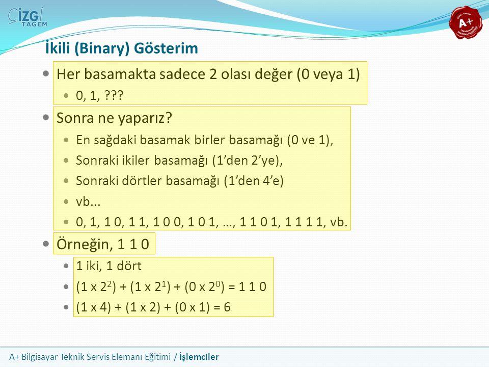 A+ Bilgisayar Teknik Servis Elemanı Eğitimi / İşlemciler İkili (Binary) Gösterim Her basamakta sadece 2 olası değer (0 veya 1) 0, 1, ??? Sonra ne yapa