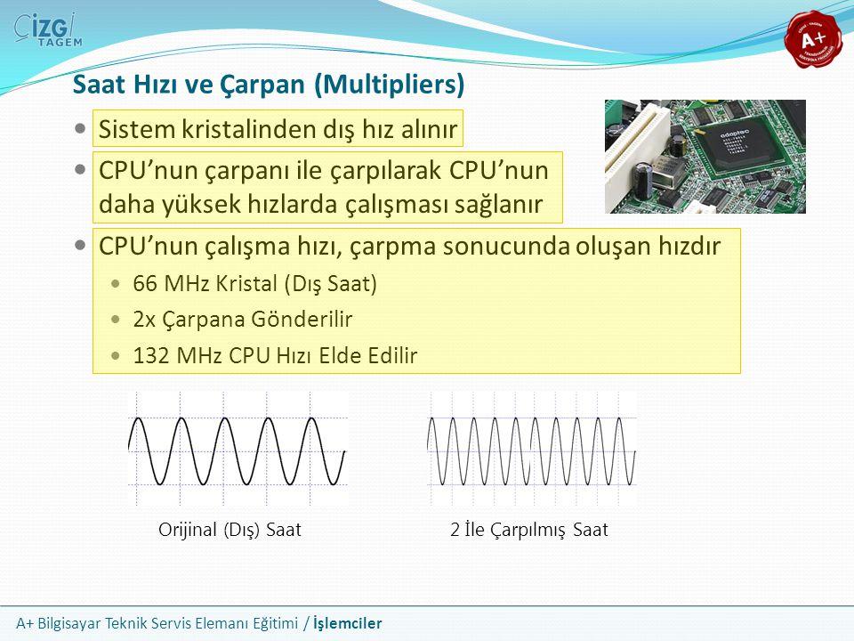 A+ Bilgisayar Teknik Servis Elemanı Eğitimi / İşlemciler Sistem kristalinden dış hız alınır CPU'nun çarpanı ile çarpılarak CPU'nun daha yüksek hızlard