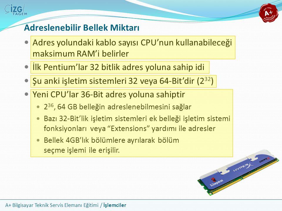 A+ Bilgisayar Teknik Servis Elemanı Eğitimi / İşlemciler Adreslenebilir Bellek Miktarı Adres yolundaki kablo sayısı CPU'nun kullanabileceği maksimum R