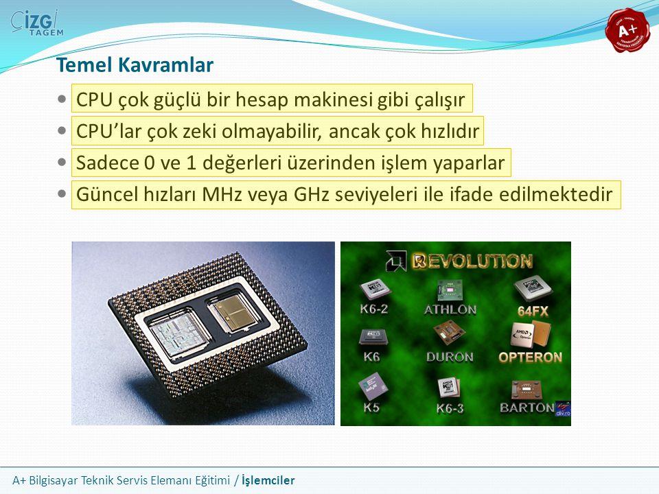 A+ Bilgisayar Teknik Servis Elemanı Eğitimi / İşlemciler CPU çok güçlü bir hesap makinesi gibi çalışır CPU'lar çok zeki olmayabilir, ancak çok hızlıdı