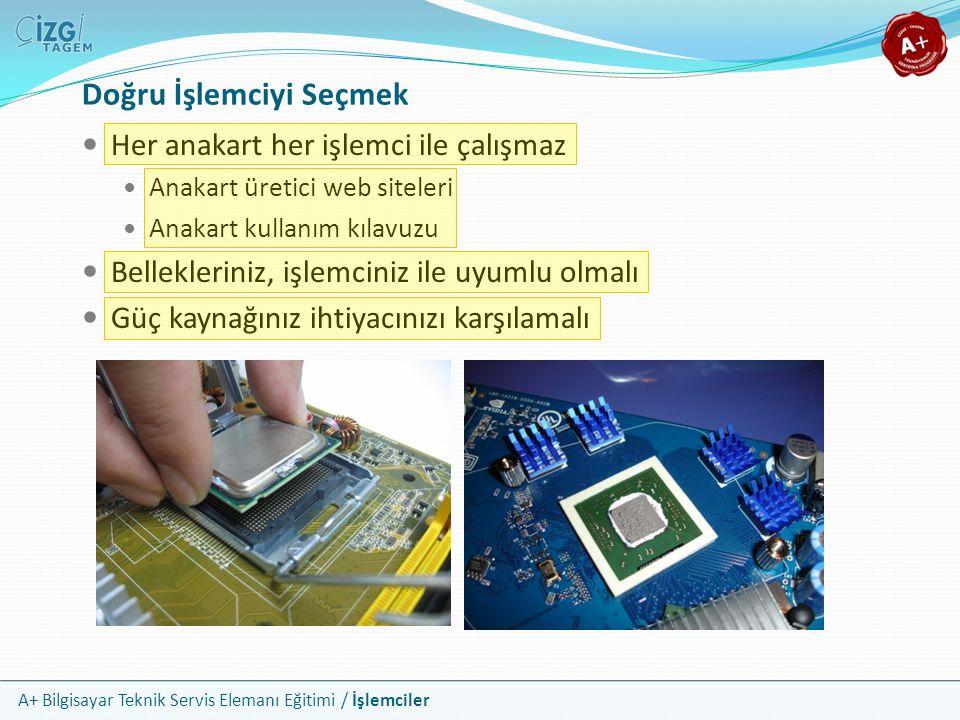 A+ Bilgisayar Teknik Servis Elemanı Eğitimi / İşlemciler Her anakart her işlemci ile çalışmaz Anakart üretici web siteleri Anakart kullanım kılavuzu B