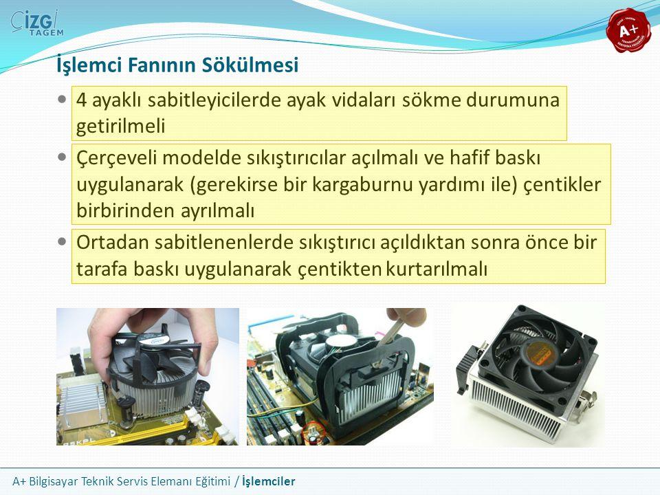 A+ Bilgisayar Teknik Servis Elemanı Eğitimi / İşlemciler İşlemci Fanının Sökülmesi 4 ayaklı sabitleyicilerde ayak vidaları sökme durumuna getirilmeli