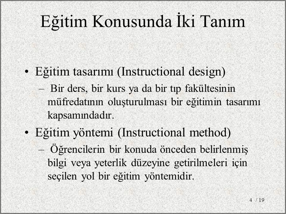 Eğitim Konusunda İki Tanım Eğitim tasarımı (Instructional design) – Bir ders, bir kurs ya da bir tıp fakültesinin müfredatının oluşturulması bir eğitimin tasarımı kapsamındadır.