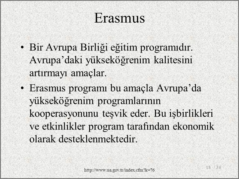 Erasmus Bir Avrupa Birliği eğitim programıdır.