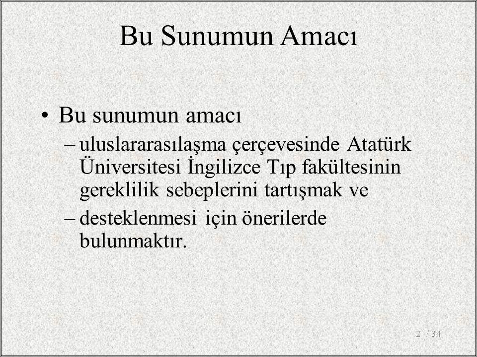 / 342 Bu Sunumun Amacı Bu sunumun amacı –uluslararasılaşma çerçevesinde Atatürk Üniversitesi İngilizce Tıp fakültesinin gereklilik sebeplerini tartışmak ve –desteklenmesi için önerilerde bulunmaktır.