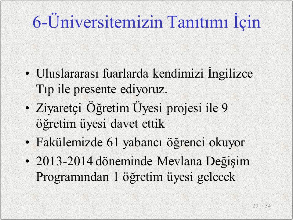 6-Üniversitemizin Tanıtımı İçin Uluslararası fuarlarda kendimizi İngilizce Tıp ile presente ediyoruz.