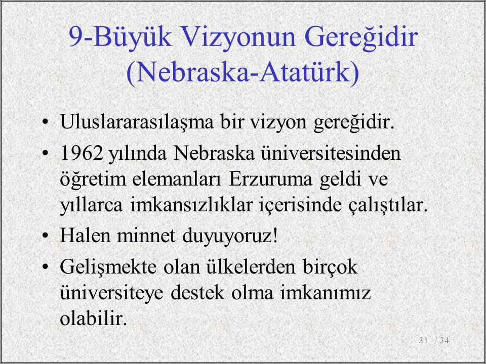 9-Büyük Vizyonun Gereğidir (Nebraska-Atatürk) Uluslararasılaşma bir vizyon gereğidir.