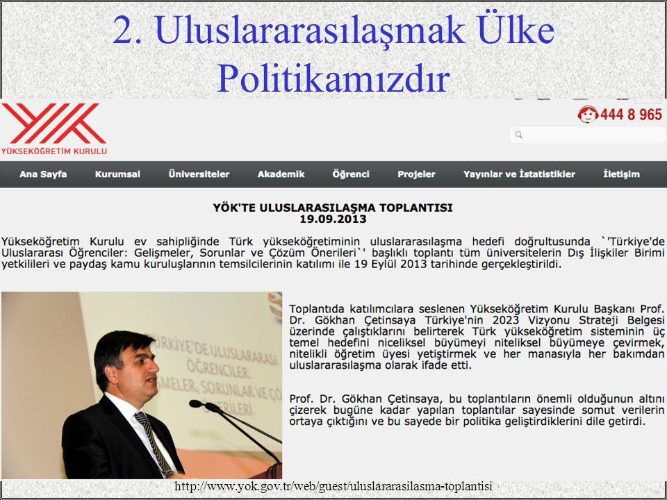 2. Uluslararasılaşmak Ülke Politikamızdır / 347 http://www.yok.gov.tr/web/guest/uluslararasilasma-toplantisi